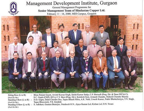General Management Programme For Senior Management Team of Hindustan Copper Limited. Conducted at MDI Campus, Gurgaon From 11.02.2008 to 16.02.2008