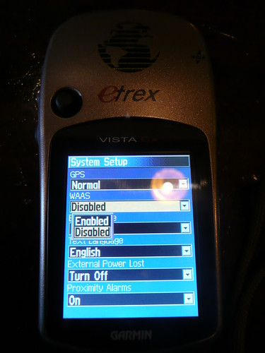 Garmin eTrex Visa Cx setup screen