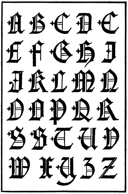 Gothic Alphabet Letters A-Z