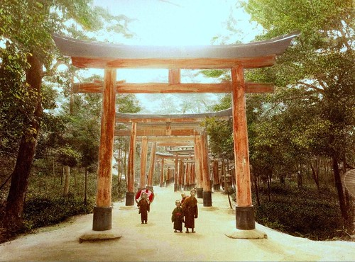 KIDS UNDER THE TORII GATES -- Another Nice Day Somewhere in Old Japan