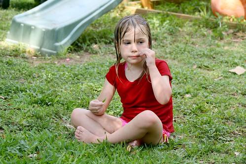 Cassie Picking Grass
