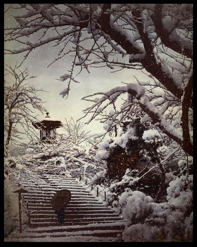 GEISHA RETURNING THROUGH THE PARK IN THE SNOWFALL OF A WINTER STORM -- A Scene from Old Meiji-Era Japan