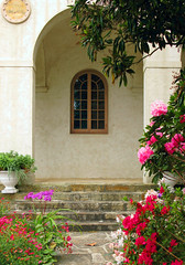 The Contemplative Life (linda yvonne) Tags: california pink stone garden solitude magenta monastery carmel enclosure commitment rosered archedwindows mywinners mywinner carmelitesistersbythesea