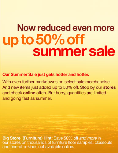Now reduced even more -- up to 50% off summer sale