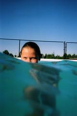 Deep Blue Skies (carlyjchalmers) Tags: blue canada water pool girl swimming underwater lpfloating