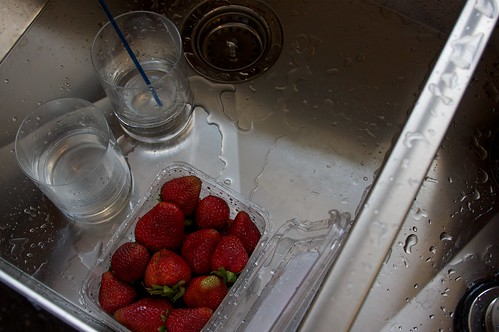strawberries in new sink. booya!