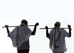 Afar men's typical way of walking, Danakil, Ethiopia (Eric Lafforgue) Tags: africa people horizontal photography day african muslim islam culture tribal stick rearview tradition ethiopia tribe ethnic 2people twopeople adultsonly tribo traditionalculture hornofafrica ethnology afar eastafrica thiopien etiopia ethiopie traditionalclothing realpeople etiopa colorimage  traveldestination danakil etiopija pastoralist ethiopi  africanculture etiopien etipia mg1590  etiyopya  aidelkebir unrecognizableperson   asaita  assayta
