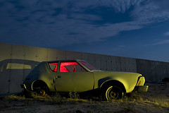 Worst. Car. Name. Ever. (Lost America) Tags: lightpainting abandoned night flash fullmoon piston gremlin flashlight junkyard amc strobe highway395 nocturnes pearsonville