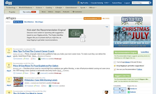 Screenshot of Digg Recommendation Engine