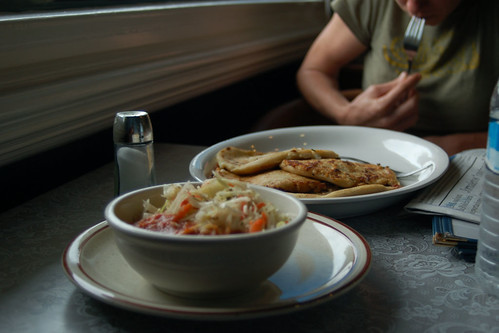 Pupusas and some salsa, at La Antorcha