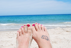 feetz (part 2) (.:Chelsea Dagger:.) Tags: ocean ohio vacation portrait usa selfportrait feet beach me water tattoo self photography sand nikon toes unitedstates florida cleveland clevelandohio turtles american toenails narcissistic jensenbeach nikond40x d40x chelseadagger chelseakaliwhatever cmckeephotography chelseamckee