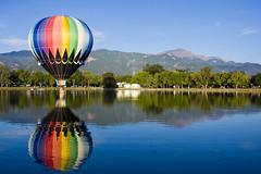 (Andrea.Pacheco) Tags: lake reflection rainbow colorado peak springs hotairballoon pikes onblue balloonclassic
