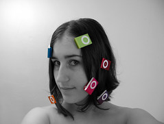Day 29 - Welcome to the new iPod! (Imhara) Tags: bw woman selfportrait silly cute nerd me apple girl photoshop self hair fun crazy mac funny ipod geek tech feminine dork 365 geeky ness ipodshuffle 365days selectivecolors blueshuffle orangeshuffle macchick 100908 pinkshuffle greenshuffle purpleshuffle redshuffle