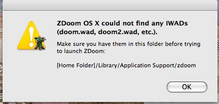 ZDoom OS X error box.
