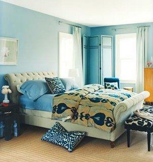 aranżacja sypialni niebieskie ściany