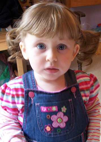 Mummy cut my fringe today and put in pigtails...