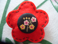 Red Bloom Brooch (Funky Shapes) Tags: red flower pin handmade brooch felt badge button bloom backpin