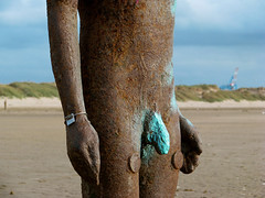 The artists body - relaxed & numbered 73 (miramann) Tags: blue sculpture industry iron paint tide statues artinstallation rustyandcrusty antonygormley anotherplace 0728 crosbybeach gapc theironman number73 miramann theartistsbody