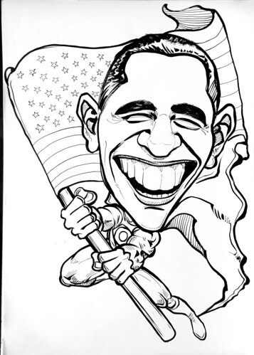 Politician caricature of Barack Obama ink