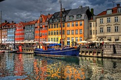 Nyhavn Reflections (MrBall) Tags: blue red sea sky orange color reflection yellow contrast digital port canon copenhagen landscape denmark rebel nyhavn harbor colorful raw wideangle danmark hdr canonefs1022mmf3545usm tonemapped tonemapping 3exp xti colorphotoaward aplusphoto colourartaward artlegacy