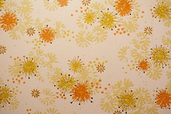 Vintage Wallpaper (Mica_R) Tags: home renovation renovations house panelling wood 70s 1970s seventies decor retro vintage repair burlington ontario canada wallpaper 70swallpaper orange yellow gold sparkles