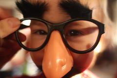 nose glasses girl