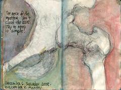 Hipocracy. December 6-8, 2008. (Sharon Frost) Tags: art moleskine pencil ink watercolor paintings selfportraits drawings thigh hip femur sketches sketchbooks pelvis journals haikus trochanter sharonfrost daybooks femoralneck ischialtuberosity acetabulem