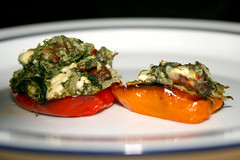 Roasted mini bell peppers stuffed with spinach...