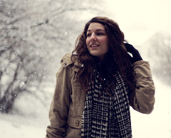 Winter Song (rachywhoo) Tags: trees winter portrait snow me scarf hair outside jacket gloves f18