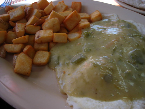 Eggs with green chile and home fries