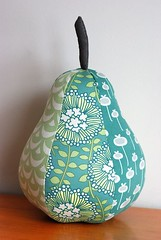 Custom Seafoam Pear Pillow (Retro_Mama) Tags: floral aqua gray pillow pear patchwork corduroy seafoam amybutler augustfields