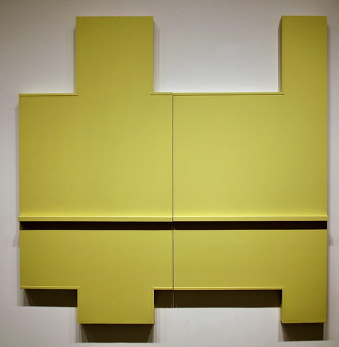Yellow Wall (Section I + II), 1964, oil and acrylic on plywood and metal, by Robert Mangold