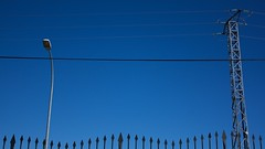 Lamp and wires (Natalia Romay Photography) Tags: blue sky urban espaa abstract lamp lines azul canon spain minimal cables wires cielo segovia farol abstracto lmpara lineas abigfave ortigosadelmonte nataliaromay lampandwires