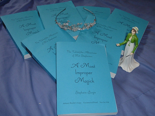 ARCs, with my writing tiara and Jane Austen action figure