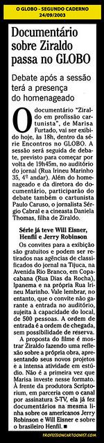 """""""Documentário sobre Ziraldo passa no Globo"""" - O Globo - 24/09/2003"""