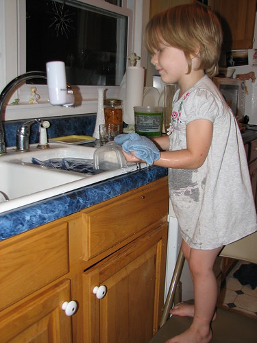 it's fun to wash dishes at grandma's house!