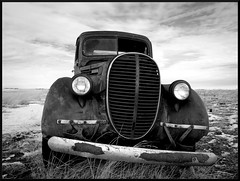 Retired BW (R A Pyke (SweRon)) Tags: winter sky blackandwhite bw canada ford abandoned field truck rust decay olympus alberta 1939 lethbridge derilict e410 diamondclassphotographer flickrdiamond