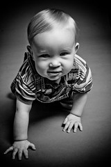 IMG_4691-Edit (evolved photography) Tags: boy bw white black cute toddler infant child bibs elinchrom dlite strobist