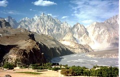 Passu -Cathedral- peaks above Hunza Valley Pak...