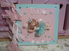 Grace's 2nd Birthday card (marmaladeandcream) Tags: pink glitter wings aqua heart wand fairy ribbon rhinestones brads paperbagcard fimopolymerclayfairy
