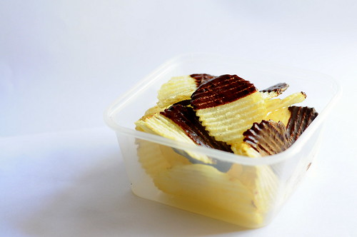 Ridged Chips (Crisps) Dipped in Dark Chocolate