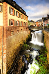 Saarburg (Wolfgang Staudt) Tags: morning travel blue trees water clouds germany deutschland early waterfall nikon europa europe wasserfall awesome tripod earlymorning terrasse tourist foss fluss altstadt spiegelung hdr pfalz alemanha brasserie gastronomie rheinlandpfalz cascada leuk  chutedeau airterjun d300 saarburg amseum  halbinsel vodopd reisefotografie  rhinelandpalatinate palatinate flickrcolour abigfave wolfgangstaudt  66111 krioklys colourartaward elle renniapalatinado nikond300  nikonflickraward altstadtsaarburg leukriver