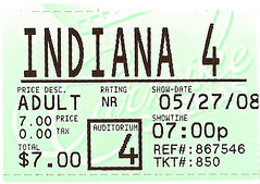 Ticket Stub of Indiana Jones