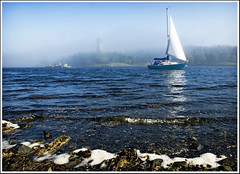 Sailing out of the fog (Dave the Haligonian) Tags: ocean canada tower fog boat sailing dingle atlantic sail halifax vob classicphoto mywinners mywinner aplusphoto worldtrekker