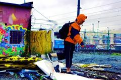 Adventure 300:365 (andreasnilsson1976) Tags: selfportrait me rain trash fence göteborg graffiti garbage sweden decay tracks tram rubbish rails 365 waste day300 365days trashbit