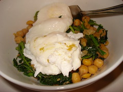 Chick peas and greens with poached eggs