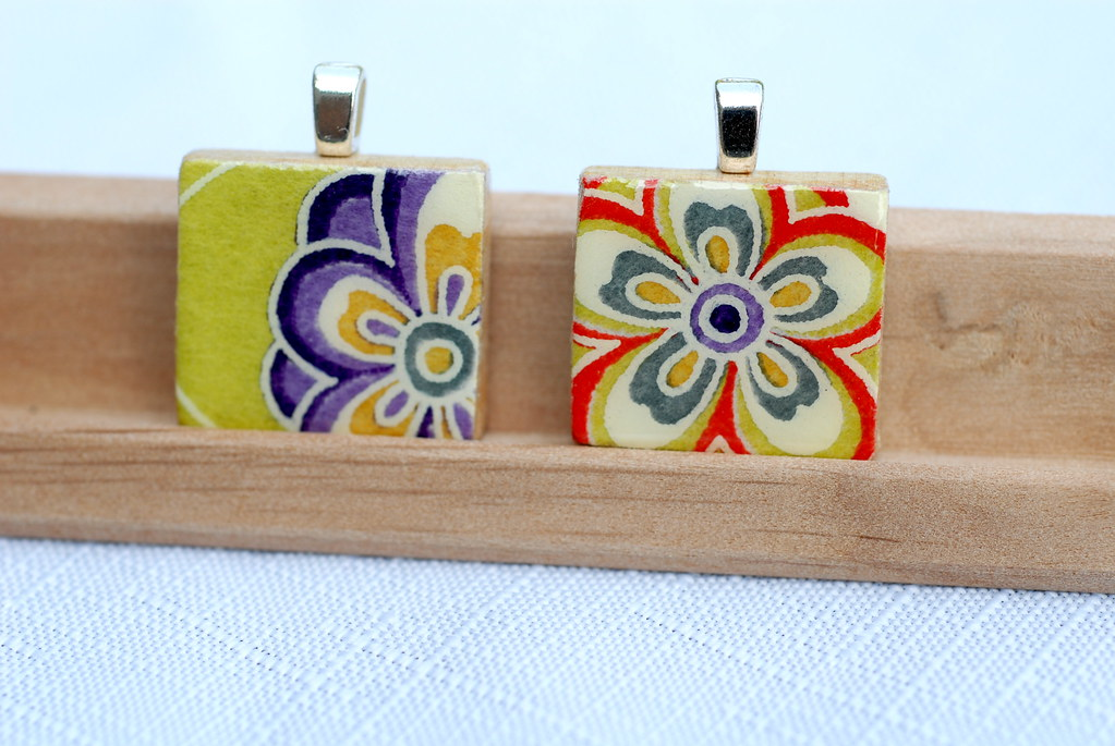 Colorful Chiyogami Flower Pendants
