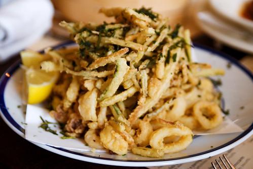 fried calamari and zucchini