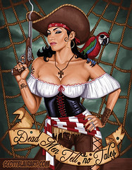 Dead Men Tell No Tales (scottblairart) Tags: sexy tattoo artwork wrestling pirates retro pirate blair guns latina pinup