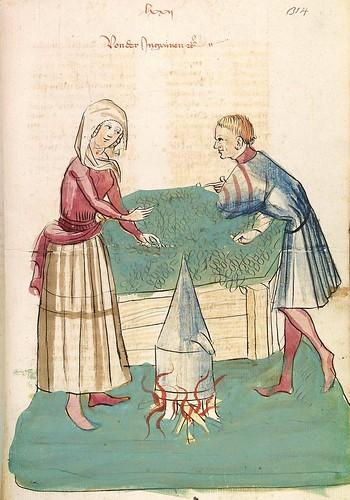15 - fol. 314r - Preparando un cocimiento de flores semper vives